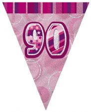 Pink Glitz '90th' Birthday Flag Banner